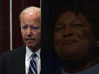 (Superimposed: Stacey Abrams) Former US Vice President Joe Biden speaks at the International Association of Fire Fighters conference in Washington, DC on March 12, 2019. (Photo by ANDREW CABALLERO-REYNOLDS / AFP) (Photo credit should read ANDREW CABALLERO-REYNOLDS/AFP/Getty Images)