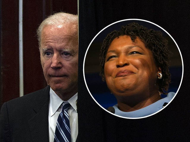 (INSET: Stacey Abrams) Former US Vice President Joe Biden speaks at the International Association of Fire Fighters conference in Washington, DC on March 12, 2019. (Photo by ANDREW CABALLERO-REYNOLDS / AFP) (Photo credit should read ANDREW CABALLERO-REYNOLDS/AFP/Getty Images)