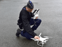 A Gendarme uses a drone during a training, as part of the visit of the French Interior Minister for the 50 years anniversary of the Gendarmerie National Training Centre in Saint Astier, on March 15, 2019. (Photo by GEORGES GOBET / AFP) (Photo credit should read GEORGES GOBET/AFP/Getty Images)