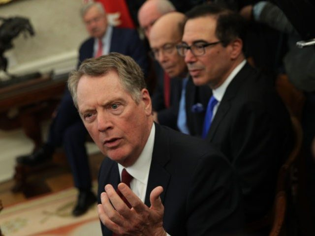 WASHINGTON, DC - FEBRUARY 22: U.S. Trade Representative Robert Lighthizer speaks as U.S. Secretary of the Treasury Steven Mnuchin and U.S. Secretary of Commerce Wilbur Ross listen during a meeting between U.S. President Donald Trump and Chinese Vice Premier Liu He in the Oval Office of the White House February 22, …