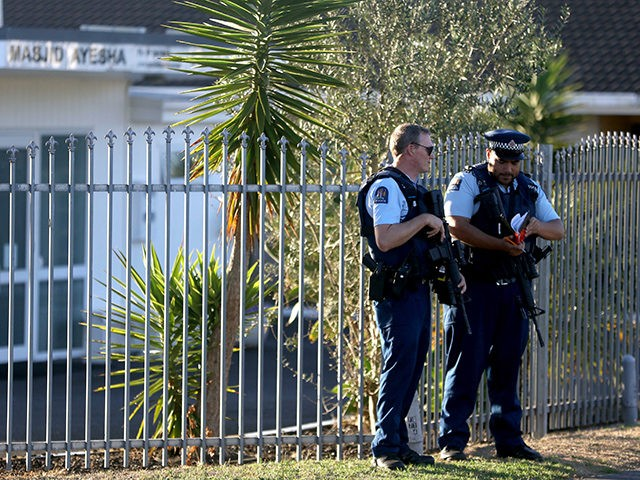 AUCKLAND, NEW ZEALAND - MARCH 15: Armed police maintain a presence outside the Masijd Ayesha Mosque in Manurewa on March 15, 2019 in Auckland, New Zealand. Four people are in custody following shootings at two mosques in Christchurch this afternoon, and the number of fatalities has yet to be confirmed. …
