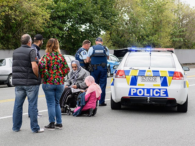 CHRISTCHURCH, NEW ZEALAND - MARCH 15: Members of the public react in front of the Masjd Al Noor Mosque as they fear for their relatives on March 15, 2019 in Christchurch, New Zealand. 49 people have been confirmed dead and more than 20 are injured following attacks at two mosques …