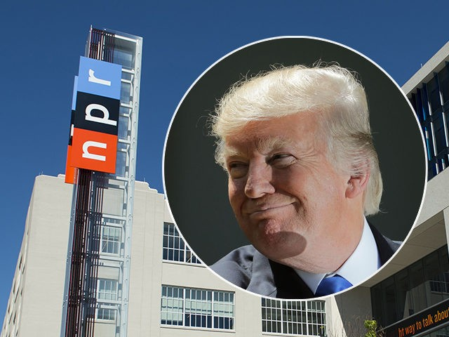 (INSET: Donald Trump) The headquarters for National Public Radio, or NPR, are seen in Washington, DC, September 17, 2013. The USD 201 million building, which opened in 2013, serves as the headquarters of the media organization that creates and distributes news, information and music programming to 975 independent radio stations …