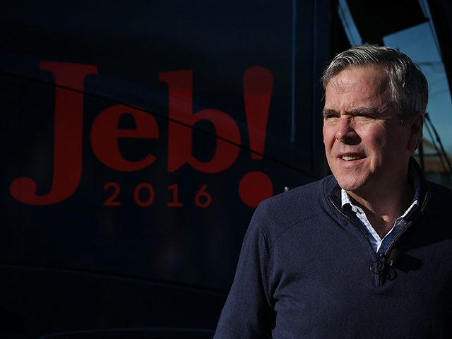 LEESVILLE, SC - FEBRUARY 16: Republican presidential candidate Jeb Bush arrives at a campaign event at Shealy's Bar-B-Que February 16, 2016 in Leesville, South Carolina. Bush continued to campaign for the upcoming GOP primary in South Carolina. (Photo by Alex Wong/Getty Images)