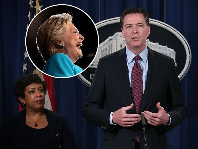 (INSET: Hillary Clinton) WASHINGTON, DC - MARCH 24: FBI Director James Comey (2nd L) speaks as U.S. Attorney General Loretta Lynch (L), and U.S. Attorney Preet Bharara (R) of the Southern District of New York listen during a news conference for announcing a law enforcement action March 24, 2016 in …