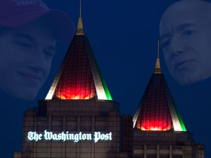 (INSET: Covington Catholic High School student Nick Sandmann) The twin spires of the new Washington Post, owned by Jeff Bezos, founder and CEO of Amazon.com, are seen illuminated with the Christmas colors of red and green on December 20, 2016 in Washington, DC. / AFP / PAUL J. RICHARDS (Photo …