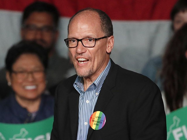 SALT LAKE CITY, UT - APRIL 21: DNC Chairman Tom Perez walks on stage to speak to a crowd of supporters at a Democratic unity rally at the Rail Event Center on April 21, 2017 in Salt Lake City, Utah. Sanders and Perez are holding several rallies around the country …