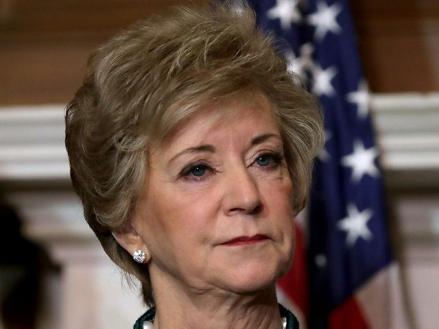 WASHINGTON, DC - NOVEMBER 28: Small Business Administration Administrator Linda McMahon speaks during a rally with GOP senators and representatives from small business interest organizations to rally for their tax reform legislation in the Mansfield Room at the U.S. Capitol November 28, 2017 in Washington, DC. Republicans in the Senate …