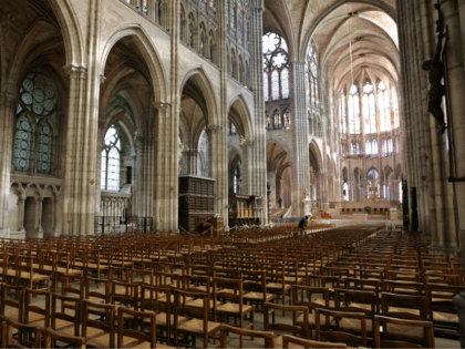 The nave and choir of the Saint-Denis basilica is pictured on April 6, 2018 in Saint-Denis, near Paris. / AFP PHOTO / Ludovic MARIN (Photo credit should read LUDOVIC MARIN/AFP/Getty Images)