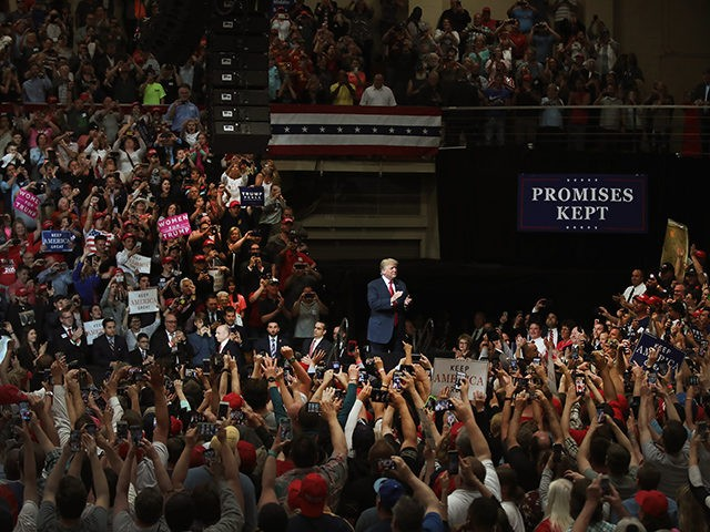 ELKHART, IN - MAY 10: President Donald Trump speaks to supporters at a campaign rally on May 10, 2018 in Elkhart, Indiana. The crowd filled the 7,500-person-capacity gymnasium. (Photo by Scott Olson/Getty Images)