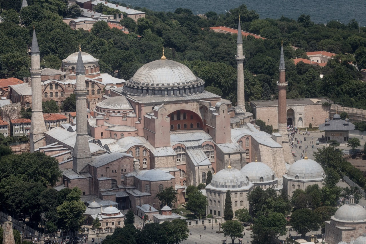 ISTANBUL, TURKEY - JUNE 20: Istanbul's famous Hagia Sofia is seen during a Kaan Air helisightseeing tour on June 20, 2018 in Istanbul, Turkey. Presidential candidates from all parties are holding campaign rallies across Turkey a week ahead of the countries June 24, parliamentary and presidential elections. (Photo by Chris McGrath/Getty Images)
