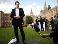 LONDON, ENGLAND - JULY 06: Actor Hugh Grant gives a television interview in support of the Hacked off campaign group near Parliament on July 6, 2011 in London, England. The Prime Minister has promised that there will be a public inquiry into phone hacking carried out by journalists at The …