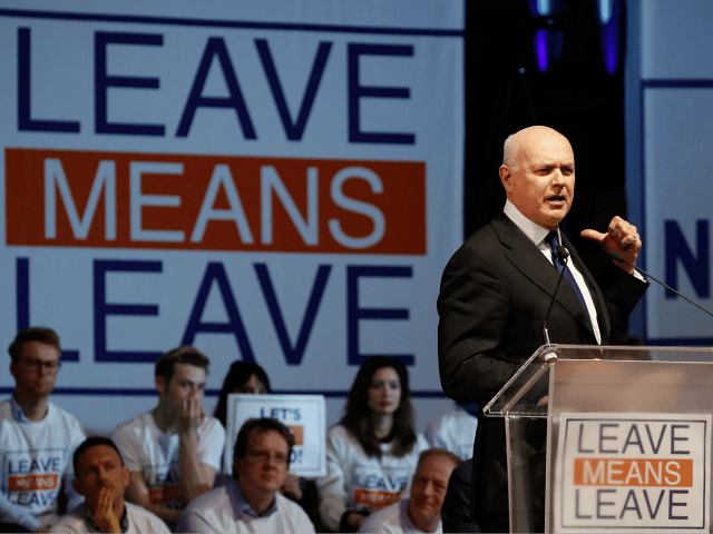 Conservative Party MP Iain Duncan Smith speaks at a political rally entitled 'Lets Go WTO' hosted by pro-Brexit lobby group Leave Means Leave in London on January 17, 2019. - British Prime Minister Theresa May scrambled to put together a new Brexit strategy on Thursday after MPs rejected her EU …