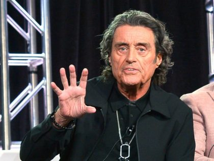 LOS ANGELES, CALIFORNIA - FEBRUARY 12: Ian McShane of 'American Gods' speaks onstage during Starz 2019 Winter TCA Panel & All-Star After Party on February 12, 2019 in Los Angeles, California. (Photo by Charley Gallay/Getty Images for Starz)