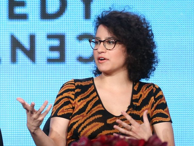 PASADENA, CA - JANUARY 10: Actress/Creator/Executive Producer Abbi Jacobson and actress/creator/executive producer Ilana Glazer speaks onstage during the 'Comedy Central - Broad City' panel discussion at the Viacom portion of the 2014 Winter Television Critics Association tour at the Langham Hotel on January 10, 2014 in Pasadena, California. (Photo by …