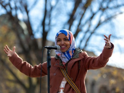 Democratic congressional candidate the Midterm elections, Ilhan Omar, speaks to a group of supporters at University of Minnesota in Minneapolis, Minnesota, on November 2, 2018.