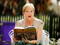 WASHINGTON - APRIL 05: British author J.K. Rowling, creator of the Harry Potter fantasy series, points to the place on her forehead where her title character has a scar while reading 'Harry Potter and the Sorcerer's Stone' during the Easter Egg Roll on the South Lawn of the White House …