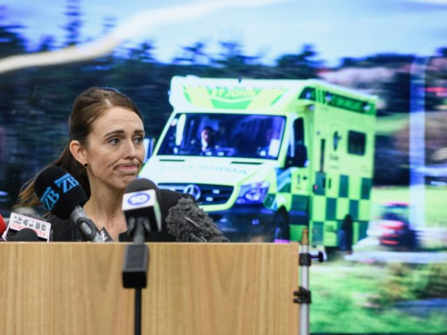 CHRISTCHURCH, NEW ZEALAND - MARCH 20: New Zealand Prime Minister Jacinda Ardern speaks to first responders during a visit at the Justice and Emergency Services precinct on March 20, 2019 in Christchurch, New Zealand. 50 people were killed, and dozens are still injured in hospital after a gunman opened fire …
