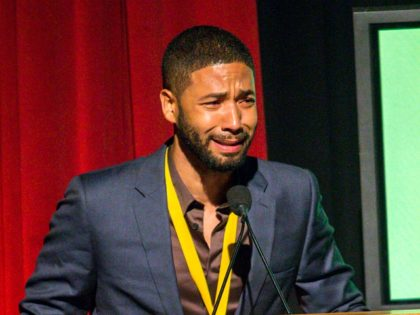 Honoree Jussie Smollett on stage during the Black Aids Institute's 16th Annual Heroes in the Struggle Gala held at the Directors Guild of America on Thursday, June 18, 2015, in Los Angeles. (Photo by Paul A. Hebert/Invision/AP)