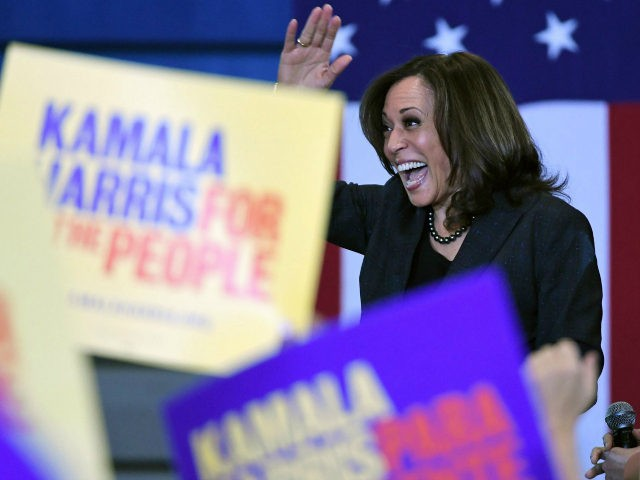 U.S. Sen. Kamala Harris (D-CA) waves as she is introduced at a town hall meeting at Canyon Springs High School on March 1, 2019 in North Las Vegas, Nevada. Harris is campaigning for the 2020 Democratic nomination for president. (Photo by Ethan Miller/Getty Images)