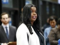 CHICAGO, IL - FEBRUARY 23: Cook County State's attorney Kim Foxx speaks with reporters and details the charges against R. Kelly's first court appearance at the Leighton Criminal Courthouse on February 23, 2019 in Chicago, Illinois. (Photo by Nuccio DiNuzzo/Getty Images)