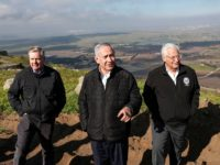 (L to R) US Senator Lindsey Graham (R-SC) is accompanied by Israeli Prime minister Benjamin Netanyahu and US Ambassador to Israel David Friedman as they visit the border line between Syria and the Israeli-annexed Golan Heights on March 11, 2019. - The influential US senator allied to President Donald Trump …