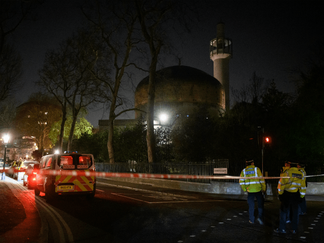 LONDON, ENGLAND - MARCH 28: Police Officers patrol the area as armed response teams continue to search Regents Park Mosque following a fatal stabbing nearby on March 28, 2019 in London, England. Police are working at the scene of an incident in Cunningham Place, Westminster, after a man was found …