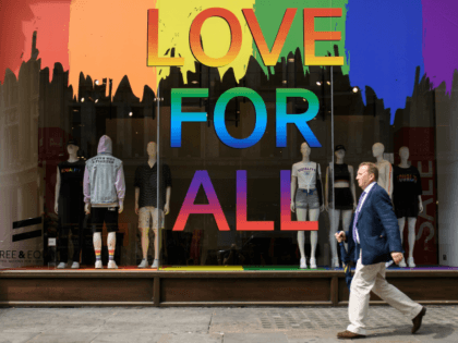 LONDON, ENGLAND - JULY 04: A Pride rainbow is seen in the window of the H&M clothing store on July 4, 2018, ahead of the upcoming 'Pride London' event in London, England. The first UK Gay Pride rally was held in 1972, with the London Pride event beginning in 2004. …