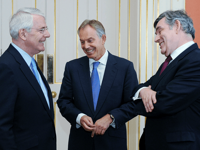 LONDON, ENGLAND - JULY 24: (L-R) Former Prime Ministers Sir John Major, Tony Blair and Gordon Brown chat before posing for a photograph with the Queen and Prime Minister David Cameron, ahead of a Diamond Jubilee lunch at 10 Downing Street on July 24, 2012 in London, England. British Prime …