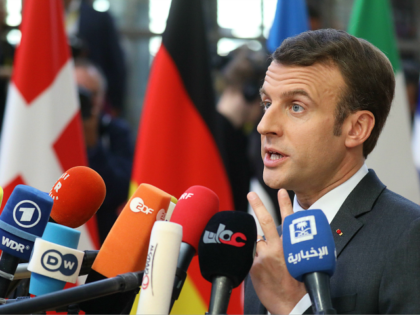 France's President Emmanuel Macron speaks to the press as he arrives on March 21, 2019 in Brussels on the first day of an EU summit focused on Brexit. - European Union leaders meet in Brussels on March 21 and 22, for the last EU summit before Britain's scheduled exit of …