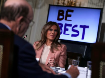 U.S. first lady Melania Trump speaks to representatives of an Interagency Working Group on Youth Programs during a State Dining Room event at the White House March 18, 2019 in Washington, DC. The first lady convened a meeting of the group to discuss youth programs that align with her Be …