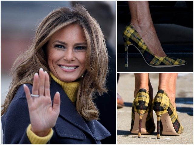 Melania in yellow tartan pumps