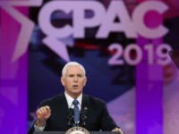 U.S. Vice President Mike Pence speaks during CPAC 2019 March 1, 2019 in National Harbor, Maryland. The American Conservative Union hosts the annual Conservative Political Action Conference to discuss conservative agenda. (Photo by Mark Wilson/Getty Images)