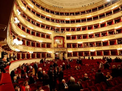 MILAN, ITALY - APRIL 24: A general view of the Teatro Alla Scala during the Italy's Liberation Day on April 24, 2010 in Milan, Italy. The day is taken as symbolic of the Liberation of Italy and the Italian resistance movement after the Nazi-Fascist occupation army left Northern Italy on …