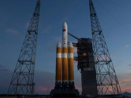 In this handout provided by NASA, The United Launch Alliance Delta IV Heavy rocket with the Parker Solar Probe onboard is seen shortly after the Mobile Service Tower was rolled back, Friday, Aug. 10, 2018, Launch Complex 37 at Cape Canaveral Air Force Station in Florida. Parker Solar Probe is …