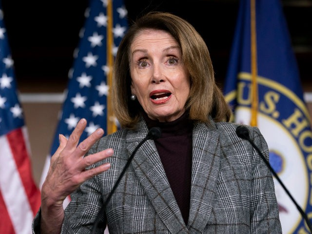 Speaker of the House Nancy Pelosi, D-Calif., meets with reporters just after the Democratic-controlled House approved a measure requiring federal background checks for all firearms sales and transfers, the first major gun control legislation considered by Congress in nearly 25 years, on Capitol Hill in Washington, Thursday, Feb. 28, 2019.