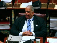 Sen. Leroy Comrie, D-Queens, works in the Senate Chamber at the Capitol on Thursday, March 12, 2015, in Albany, N.Y. (AP Photo/Mike Groll)