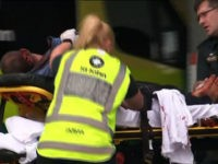 An image grab from TV New Zealand taken on March 15, 2019 shows a victim arriving at a hospital following the mosque shooting in Christchurch. - At least one gunman who targeted crowded mosques in the New Zealand city of Christchurch killed a number of people, police said, with Prime …