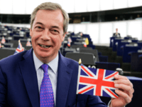 Member of the European Parliament and former leader of the anti-EU UK Independence Party (UKIP) Nigel Farage shows a Union Jack flag at the European Parliament in Strasbourg, eastern France, on April 5, 2017. The European Parliament will on April 5 lay down its 'red lines' for negotiations over a …