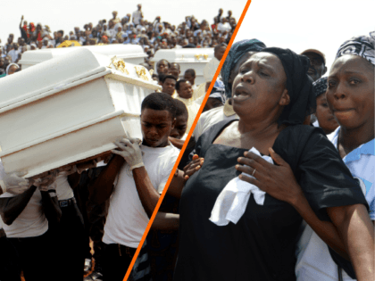 (L)Coffins are carried during a funeral service for 17 worshippers and two priests, who were allegedly killed by Fulani herdsmen, at Ayati-Ikpayongo in Gwer East district of Benue State, north-central Nigeria on May 22, 2018. - Two Nigerian priests and 17 worshippers have been buried, nearly a month after an …