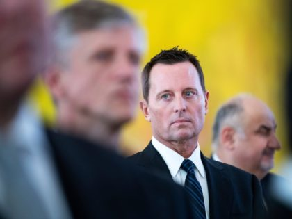 US Ambassador to Germany Richard Allen Grenell, center, attends the new year reception for the diplomatic corps in the presidential palace in Berlin Monday, Jan. 14, 2019. (Bernd von Jutrczenka/dpa via AP)