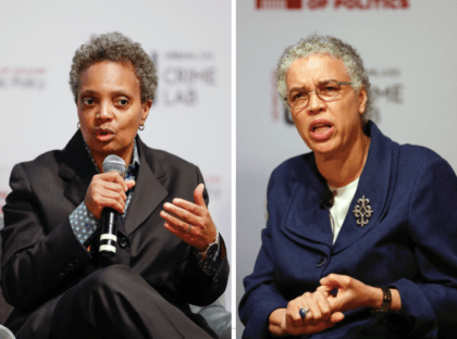 Lori Lightfoot (L) and Tori Preckwinkle (R) (KAMIL KRZACZYNSKI / Getty)