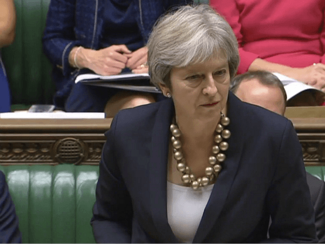 In this image taken from Parliament TV, Britain's Prime Minister Theresa May makes a statement to the House of Commons about the European Council summit, in London, Monday Oct. 22, 2018. May faces dissent from political opponents and from within her own ruling Conservative Party over her blueprint for the …