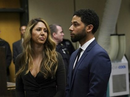Actor Jussie Smollet appears with his attorney Tina Glandian, left, at a hearing for a judge assignment at Leighton Criminal Court in Chicago, Thursday, March 14, 2019. Smollett pleaded not guilty to charges accusing him of lying to police about being attacked in downtown Chicago a few weeks ago. (E. …