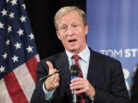 Anti-Trump billionaire Tom Steyer hosts a town hall meeting on December 4, 2018 in Charleston, South Carolina. Steyer, founder of NextGen America and Need to Impeach, is testing the waters for a 2020 presidential run.
