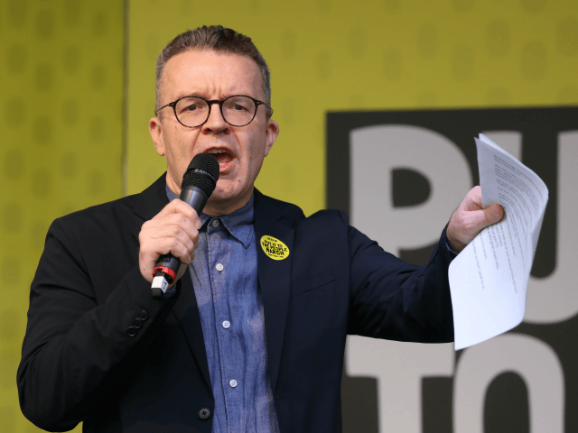 British opposition Labour Party Deputy Leader, Tom Watson speaks at a rally organised by the pro-European People's Vote campaign for a second EU referendum in Parliament Square, central London on March 23, 2019. - Hundreds of thousands of pro-Europeans from across Britain were expected to march through London on Saturday …