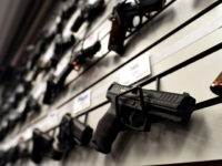 Handguns are displayed at the Ultimate Defense Firing Range and Training Center in St Peters, Missouri, some 20 miles (32 kilometers) west of Ferguson, on November 26, 2014.