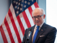 LONDON, ENGLAND -DECEMBER 13: US Ambassador to the UK Robert Wood Johnson speaks at the unveiling of the new US Embassy building in Nine Elms in Wandsworth on December 13, 2017 in London, England. The new US embassy designed by Kieran Timberlake architects is moving from Grosvenor Square to its …