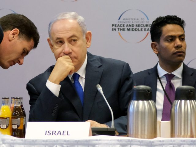 WARSAW, POLAND - FEBRUARY 14: Israeli Prime Minister Benjamin Netanyahu attends the opening session of the Ministerial to Promote a Future of Peace and Security in the Middle East on February 14, 2019 in Warsaw, Poland. The ministerial is a conference on the Middle East sponsored by the Polish and …