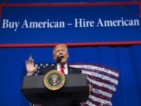 US President Donald Trump speaks after touring Snap-On Tools in Kenosha, Wisconsin, April 18, 2017, prior to signing the Buy American, Hire American Executive Order. / AFP PHOTO / SAUL LOEB (Photo credit should read SAUL LOEB/AFP/Getty Images)
